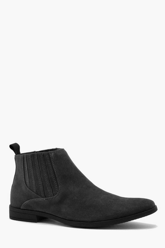 Western Covered Gusset Faux Suede Chelsea Boot
