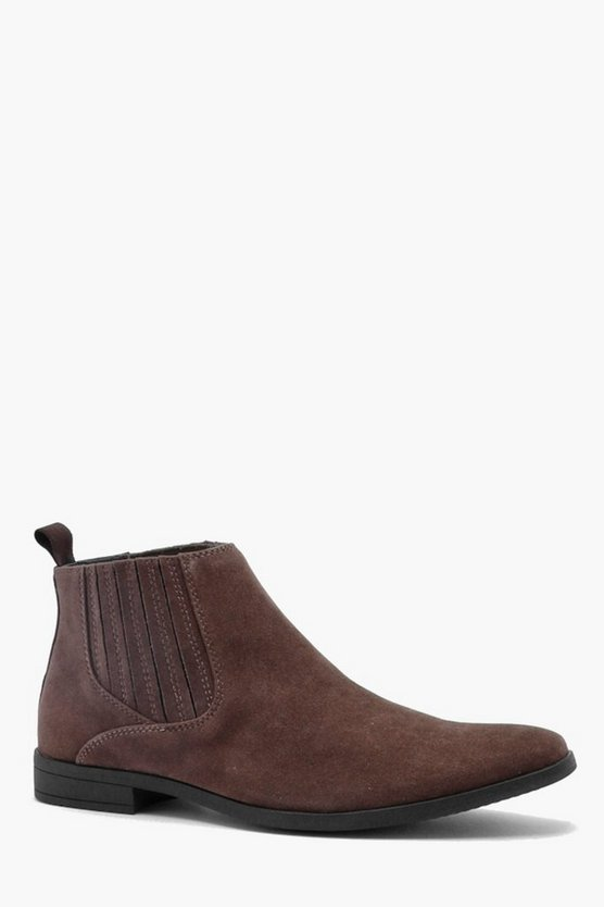 Mens Tan Western Covered Gusset Faux Suede Chelsea Boot