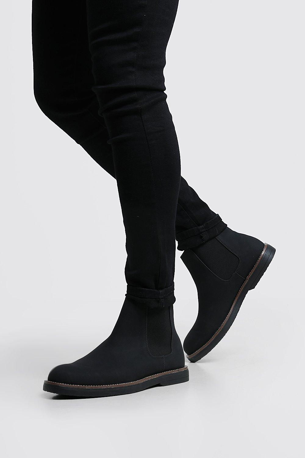 Heavy Sole Faux Leather Chelsea Boot
