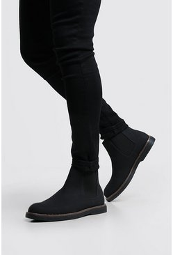 Mens Black Heavy Sole Faux Leather Chelsea Boot