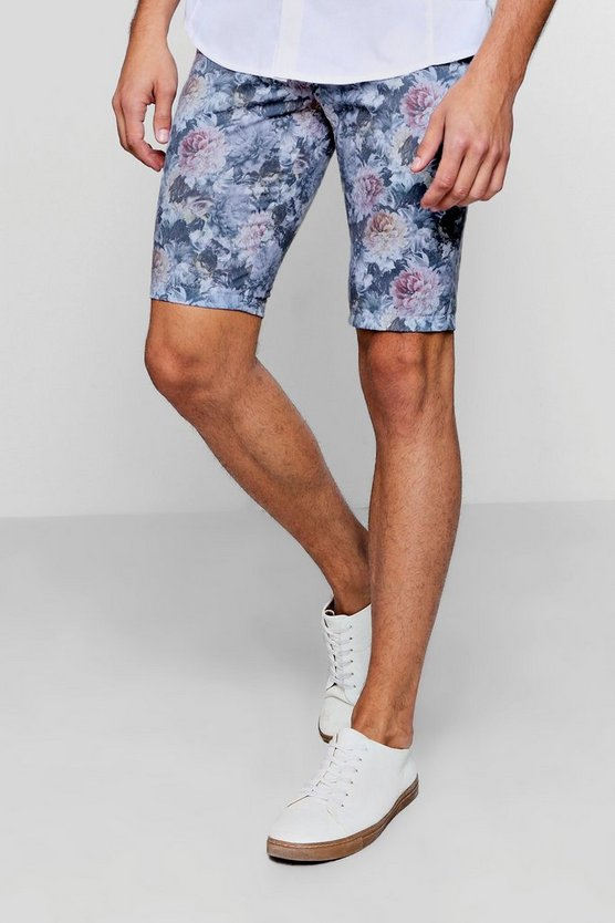 Skinny Fit Floral Print Tailored Shorts