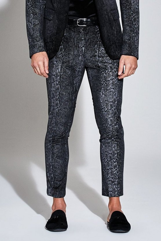 Mens Black Premium Skinny Snakeskin Velour Cropped Trouser