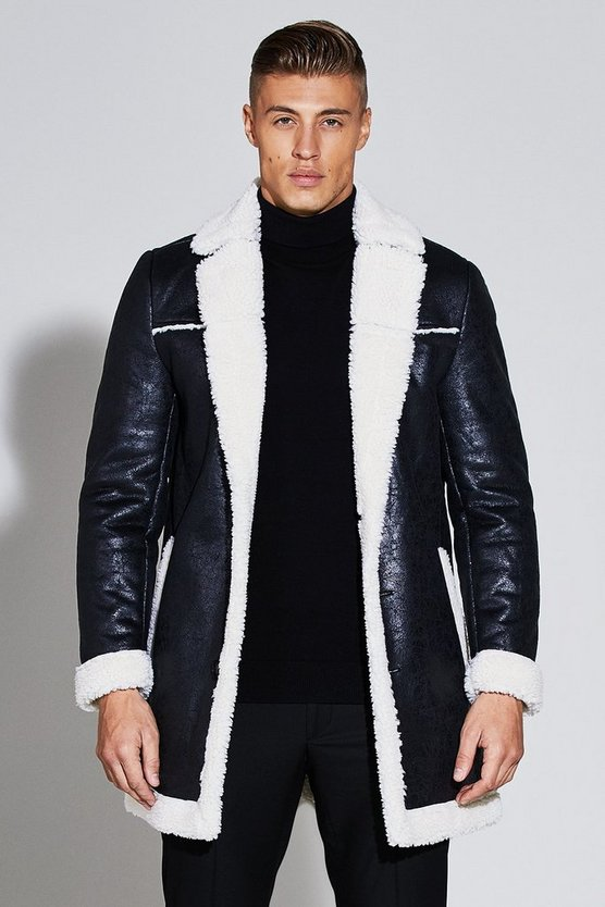 Premium Faux Leather Borg Lined Jacket