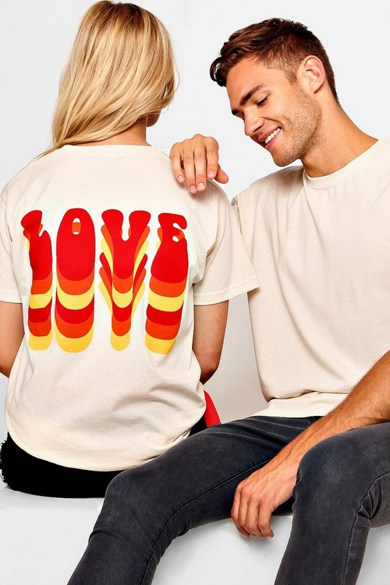 Pride Loose Fit Love Bubble Text T-Shirt