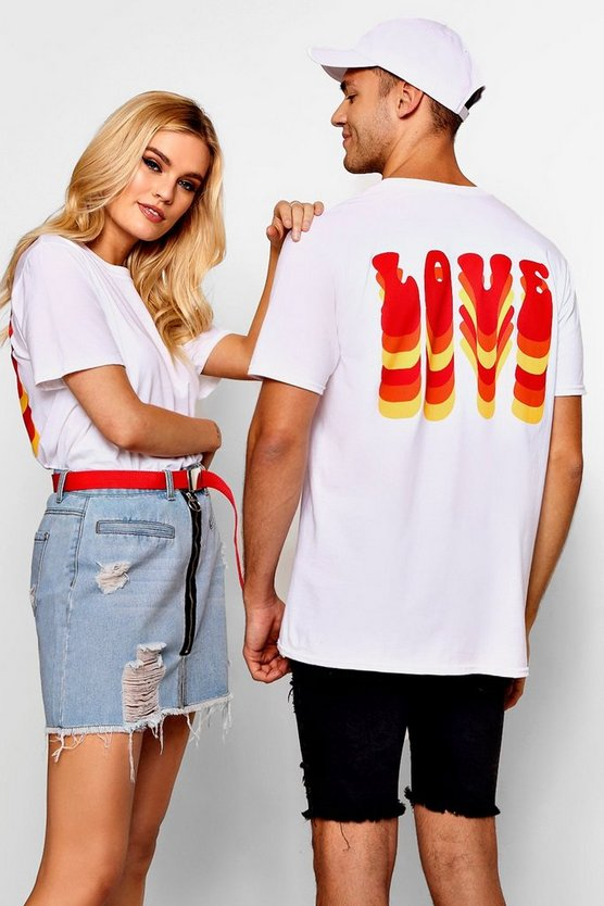 Mens White Pride Loose Fit Love Bubble Text T-Shirt