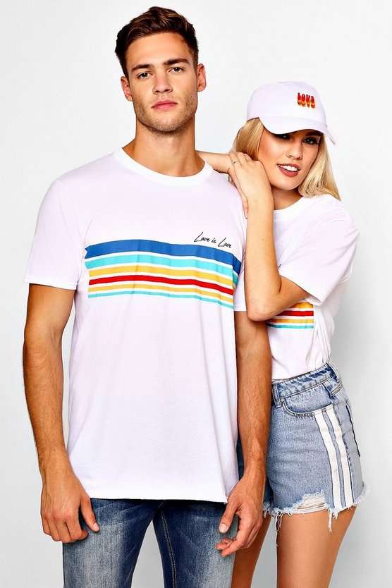 Pride Loose Fit Stripe Love is Love T-Shirt