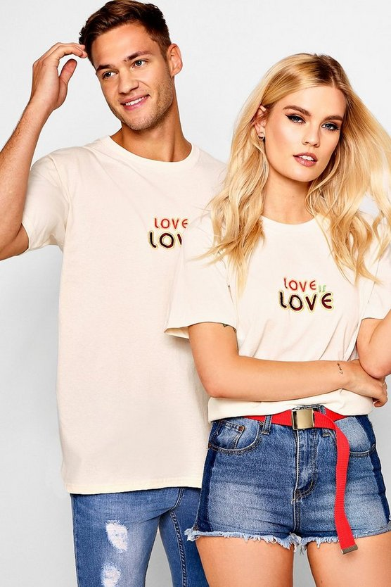 Pride Loose Fit Love Is Embroidered T-Shirt