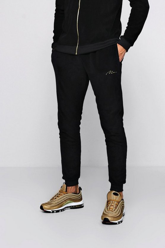 Gold MAN Embroidered Velour Joggers