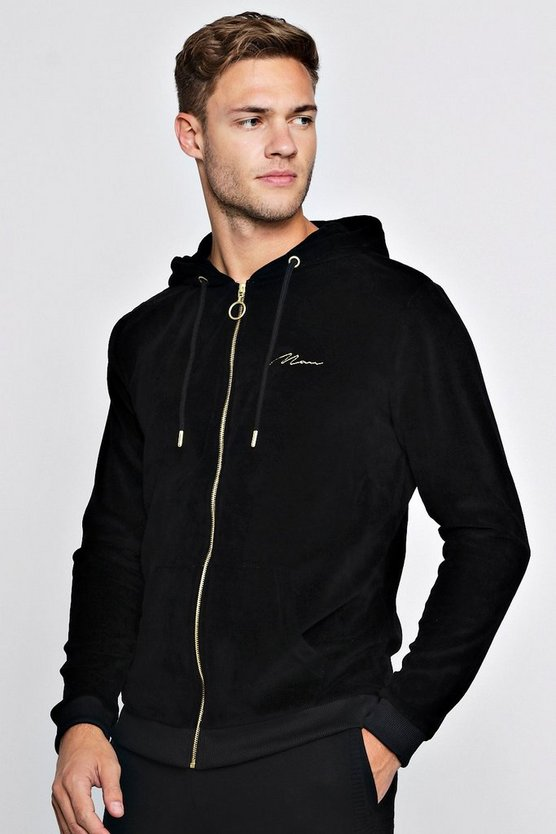 Gold MAN Embroidered Velour Zip Through Hoodie
