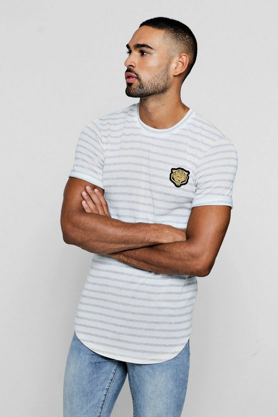Mens Grey Gold Applique Tiger Knitted Stripe T-Shirt