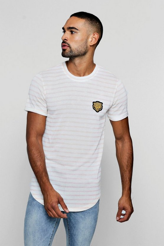 Gold Applique Tiger Knitted Stripe T-Shirt