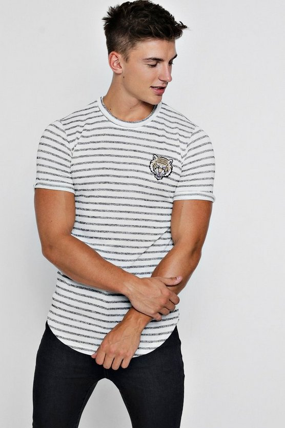 Tiger Applique Knitted Stripe T-Shirt
