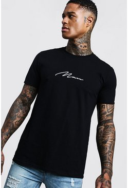 Herr Black MAN Signature Embroidered T-Shirt