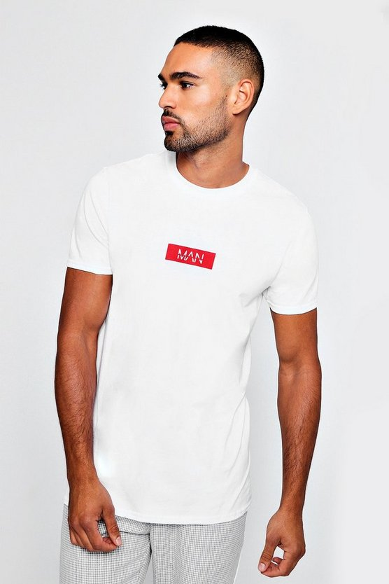 MAN Red Box Logo Printed T-Shirt