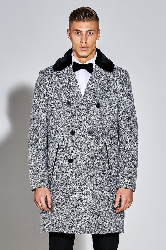 Premium Wool Mix Overcoat With Faux Fur Collar
