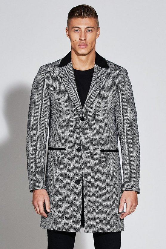 Premium Wool Mix Overcoat With Faux Suede Collar