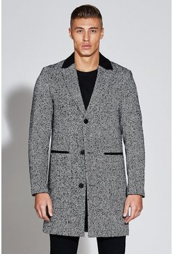 Mens Black Premium Wool Mix Overcoat With Faux Suede Collar