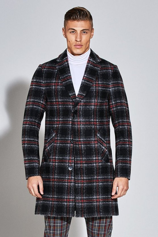 Premium Wool Mix Check Crombie Overcoat