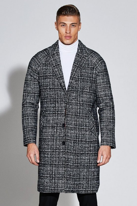 Premium Textured Wool Mix Cocoon Overcoat