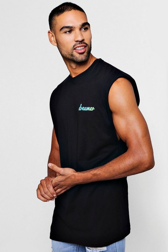 Mens Black Dreamer Printed Sleeveless Tee With Drop Armhole