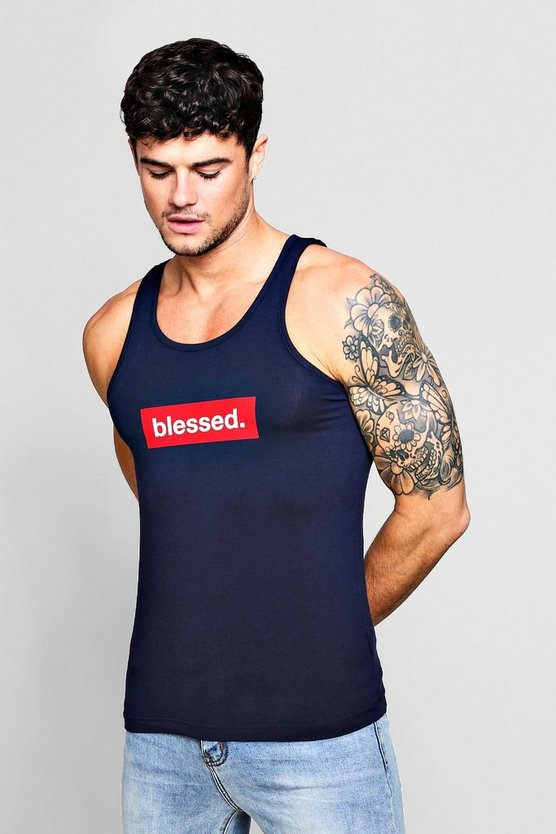 Muscle Fit Vest With Blessed Slogan