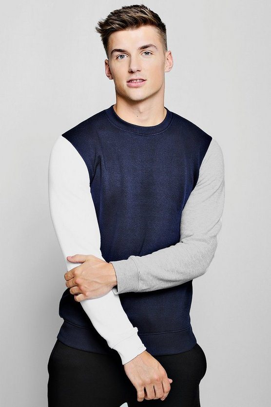 Mens Navy Colour Block Jersey Sweater