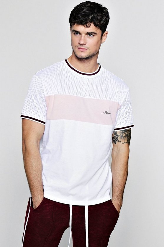 Mens White Colour Block Man Signature Mesh T-Shirt
