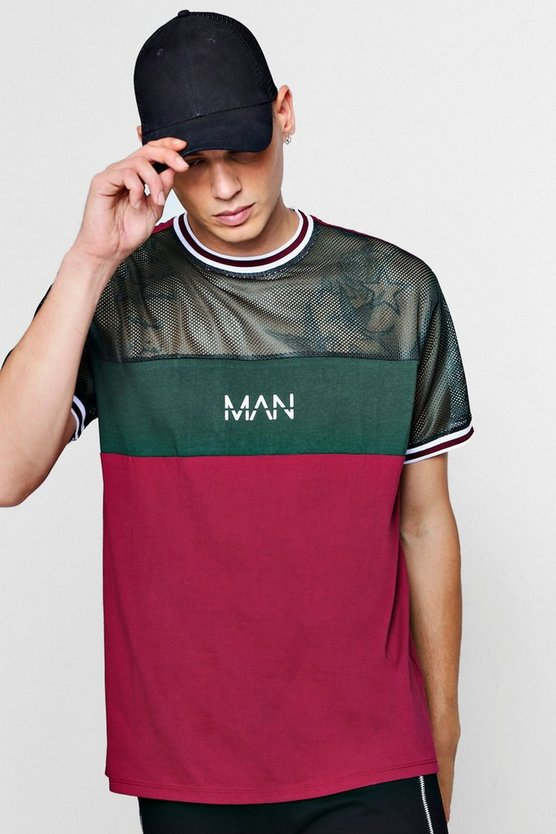 T-shirt colorblock en mailles MAN Original à empiècement, Lie de vin, Homme