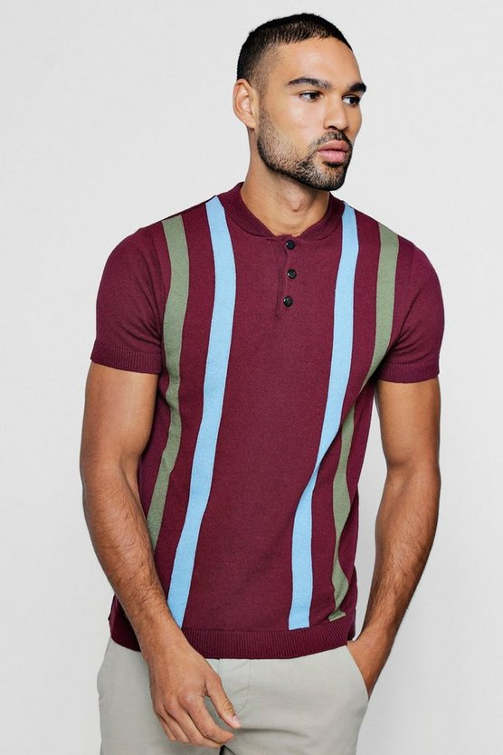 Mens Burgundy Vertical Stripe Knitted Polo