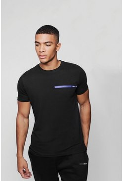 Mens Black MAN Sport Rubberized Chest Logo T-Shirt