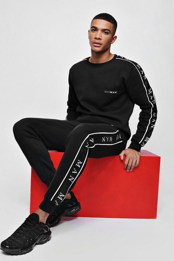 Mens Black MAN Sport Sweater Tracksuit With Taping