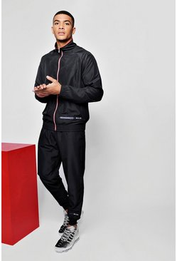 Mens Black MAN Sport Funnel Neck Shell Tracksuit With Banding