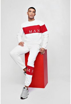 Mens White MAN Sport Contrast Panel 90s Tracksuit