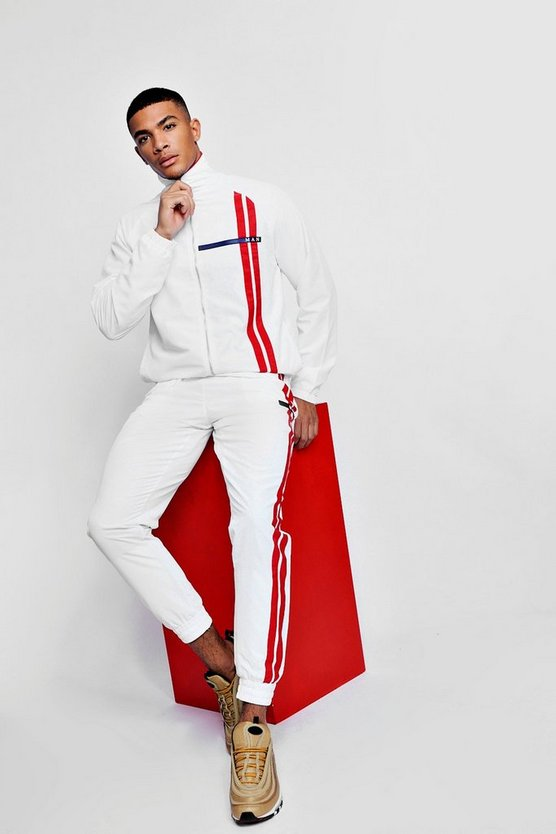 MAN Sport Shell Tracksuit With Contrast Stripe