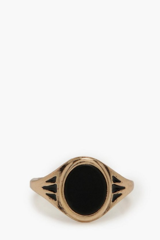 Mens Gold Black Stone Ring