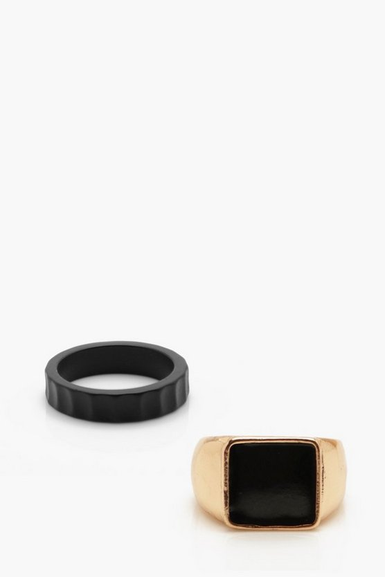 Gold Band & Signet Ring Set