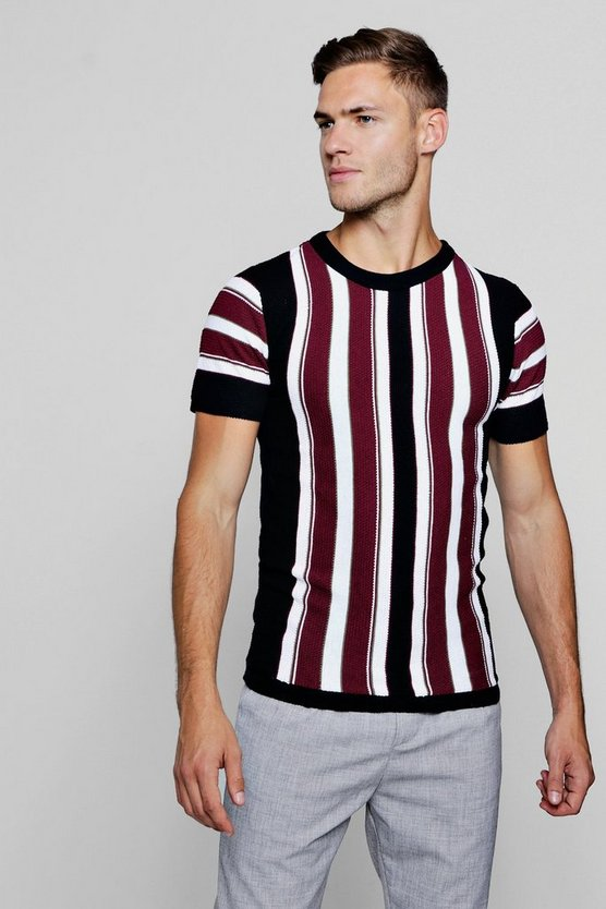 Vertical Stripe Knitted Muscle Fit T-Shirt