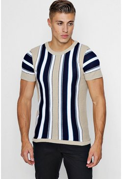 Mens Taupe Vertical Stripe Knitted Muscle Fit T-Shirt