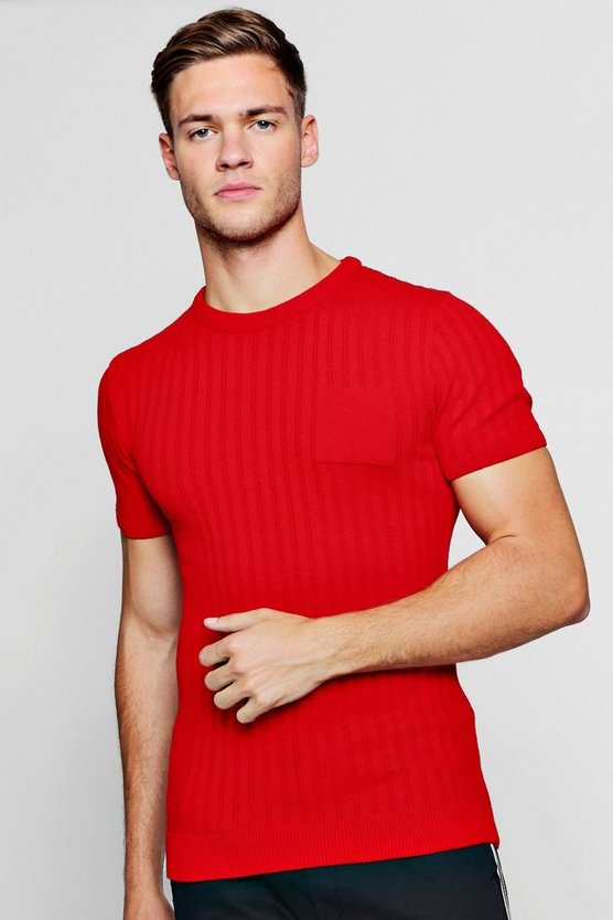 Pocket Ribbed Knit T-Shirt
