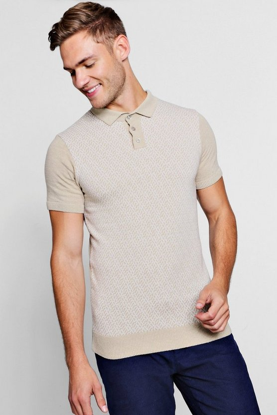 Knit Interest Short Sleeve Polo