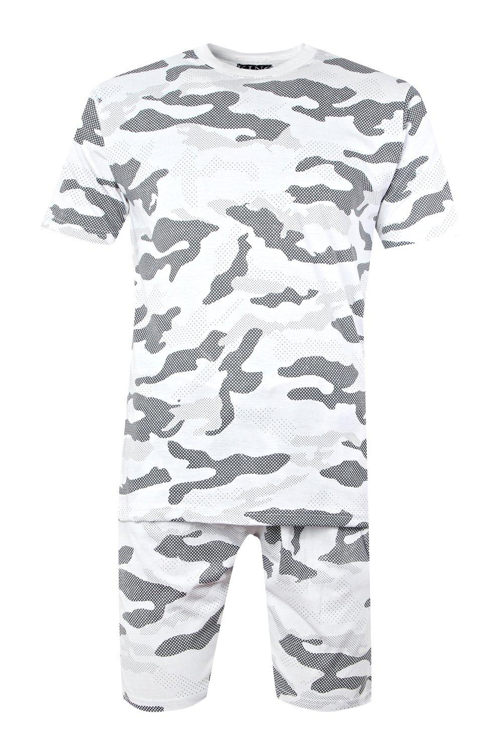 980495a7 Mens White Camo T-Shirt And Short Set. Hover to zoom. Close video