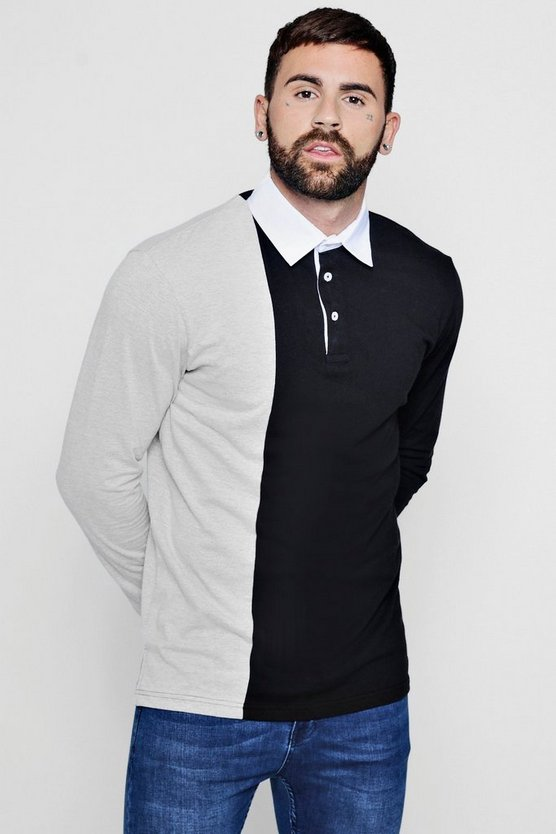 Colour Block Split Panel Rugby Polo