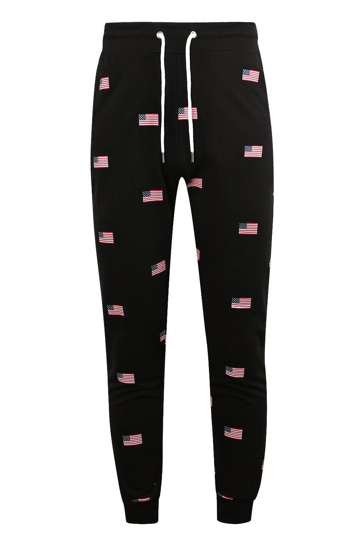 correr Pantalones con de estampado estadounidense de negro skinny bandera aSzw5q