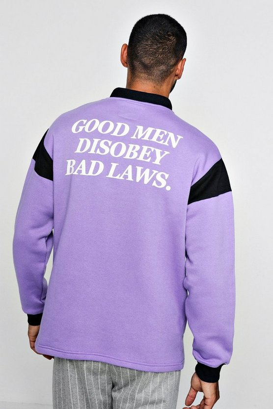 Mens Purple Loose Fit Rugby Sweatshirt With Back Print