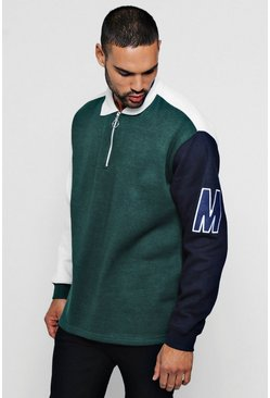 Mens Green Loose Fit Colour Block Rugby Sweat