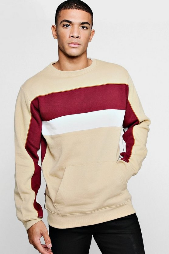 Pipe Detail Panelled Sweatshirt