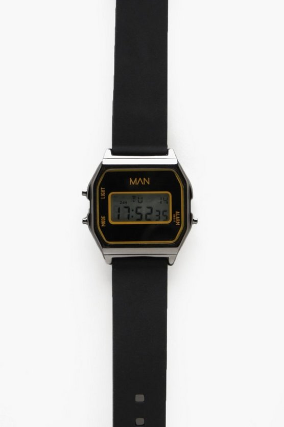 Mens Black Digital Gunmetal Face Watch
