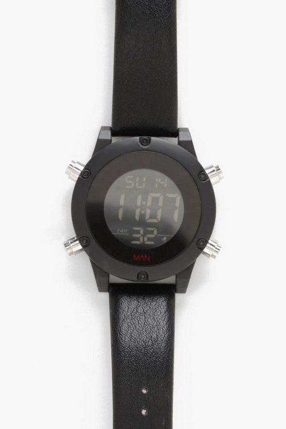 Oversized Digital Monochrome Watch