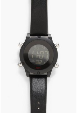 Mens Black Oversized Digital Monochrome Watch
