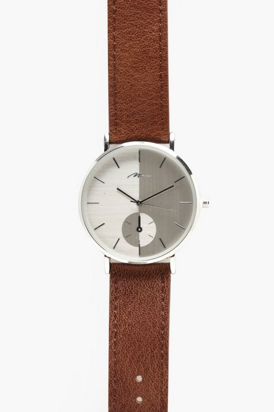 Slim Silver Watch With Tan Strap